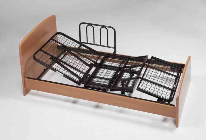 リクライニングベッドTG-201F イーゼルR シングルサイズ(ライトブラウン色)マットレス・専用手すり2本付きの画像